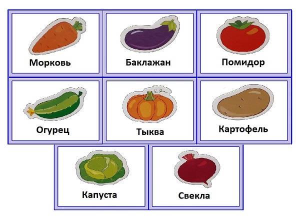 Карточки PECS овощи